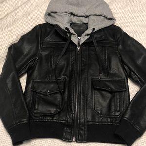 Blank nyc faux leather black hoodie jacket